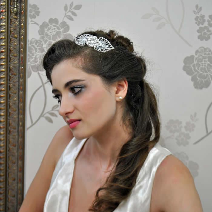 wedding hair band hearts and diamond